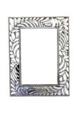 Metal photo frame. Isolated on white background Royalty Free Stock Images