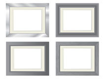 Metal photo frames. Set of four metal photo frames with different textures Royalty Free Stock Images