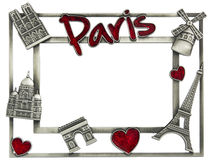 Metal photoframe souvenir from Paris Stock Photography