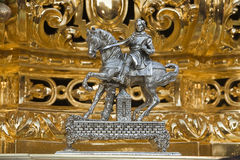 Metal piece located in the front of the floats with the hammering the foreman ordered lift the throne in holy week Royalty Free Stock Photos