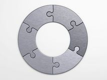 Metal pieces of puzzle to place concepts Royalty Free Stock Photo