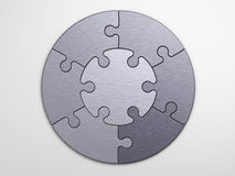Metal pieces of puzzle to place concepts Stock Images