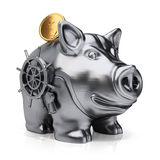 Metal piggy bank with safe lock and gold coin Royalty Free Stock Photo