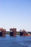 Metal piles. For the construction of a new bridge Stock Photos