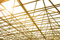Metal pillar structure of modern office architecture glass roof Royalty Free Stock Photos