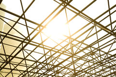 Metal pillar structure of modern office architecture glass roof Stock Photos