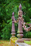 Metal pillars and chains Stock Photography