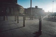 Metal pillars for parking facing stock photography
