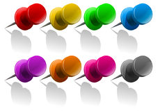Metal pin in many colors. Illustration Royalty Free Stock Images