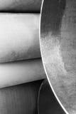 Metal pipe is broken. Stainless metallic Royalty Free Stock Image