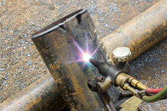 Metal pipe cutting Royalty Free Stock Photo