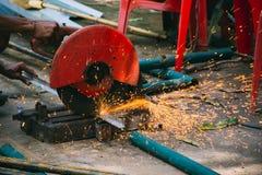 Metal pipe cutting Stock Photo