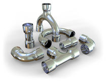 Metal pipe fittings Stock Photo