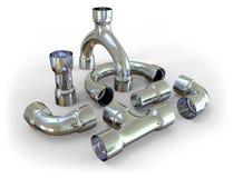 Metal pipe fittings Stock Photo