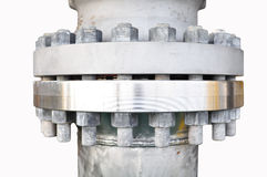 Metal pipe flanges with bolts on an isolated background, Pipe line in oil and gas industry and installed in plant or process Royalty Free Stock Image