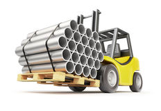 Metal pipe on the forklift Royalty Free Stock Photo