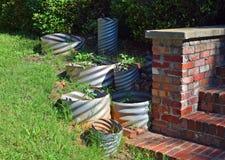 Metal pipe planters Stock Photo