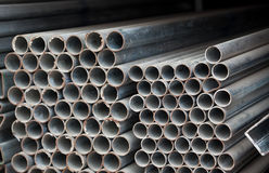Metal pipe stack Royalty Free Stock Photo