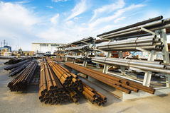 Metal pipe on warehouse. Metal pipe stack on warehouse Royalty Free Stock Images