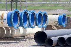 Metal pipe for water city supply Stock Photos