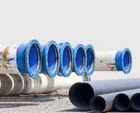 Metal pipe for water city supply Royalty Free Stock Photography