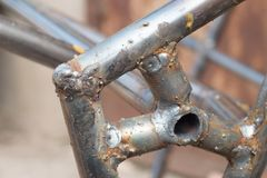 Close up of weld seams stock photography