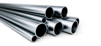 Metal pipe on white background. on a white background Royalty Free Stock Photos