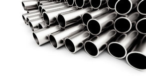 Metal pipe on white background. on a white background 3D illustration, Stock Photography
