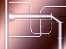 The metal pipeline. Pipeline, metal, brown, water, connection, to interwine, leak, industry Stock Photo
