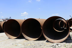 Metal pipeline on construction Royalty Free Stock Photo