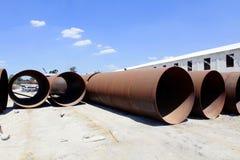 Metal pipeline on construction Stock Photos