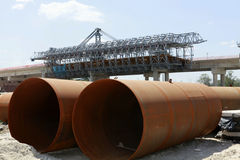 Metal pipeline on construction Royalty Free Stock Photography