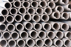 Metal pipeline in group from end. Pattern in row Stock Photo