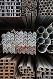 Metal pipes and angle iron  stack Stock Photos