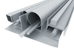 Metal pipes, angles, channels, fixtures and sheet. Rolled metal pipes, angles, channels, fixtures and sheet. 3d render Royalty Free Stock Images