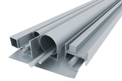 Metal pipes, angles, channels, fixtures and sheet Royalty Free Stock Images