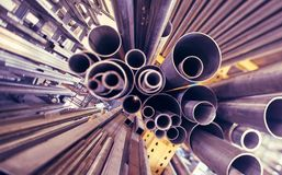 Metal pipes. A black metal pipes of various profiles Stock Photo