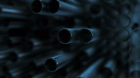 Metal pipes in blue. Stack of metallic pipes under a blue light - 3d animation stock footage