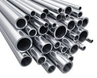 Metal pipes. Creative abstract heavy metallurgical industry and industrial manufacturing business production concept: 3D render illustration of the group or heap Royalty Free Stock Images