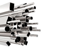 Metal pipes. 3d rendering circular pipes and square pipes stock photo