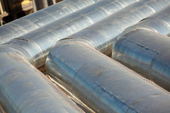 Metal pipes of metallurgical plant Stock Images