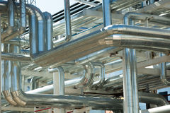 Metal pipes of metallurgical plant Stock Photos