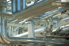 Metal pipes of metallurgical plant Royalty Free Stock Photos