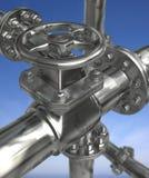 Industrial Valves. Metal valves on blue background. 3D illustration stock images