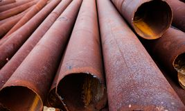 Metal pipes stack Stock Image