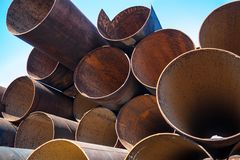 Metal pipes stack Stock Photos
