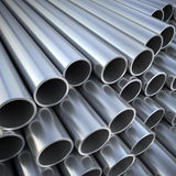 Metal pipes and tubes on warehouse Royalty Free Stock Photo