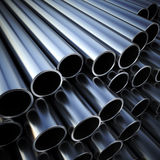 Metal pipes on warehouse Stock Photos