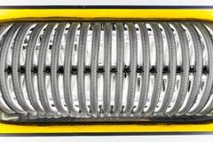 Metal pipes of water heating boiler Stock Image