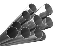 Metal pipes on white background Stock Photography